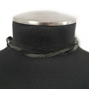 MAX AZRIA by BCBG NECKLACE CHOKER BLACK LEATHER